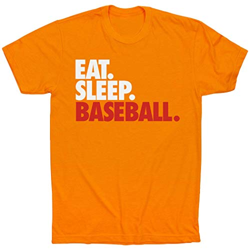 - ChalkTalkSPORTS Eat. Sleep. Baseball. T-Shirt | Baseball Tees Orange | Adult X-Large