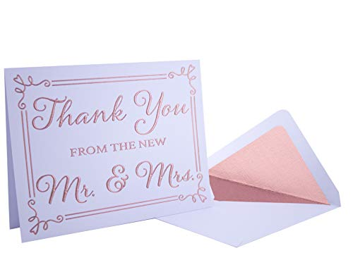 Wedding Thank You Cards 20 Pack - Rose Gold Foil Embossed