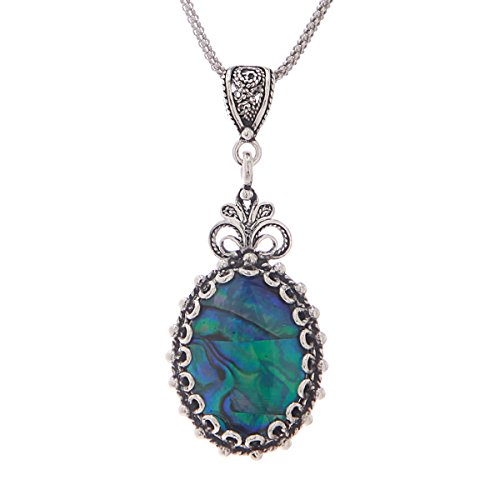 (Blue Abalone 925 Sterling Silver Oval Filigree Drop Pendant Necklace 18