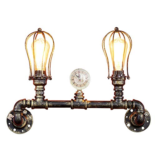 Cheap SUSUO Lighting Loft Retro Industrial Pipe Wall Lamp Antique Copper Finish 2-Lights Wire Cage Wall Sconce