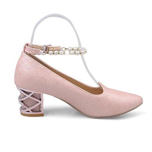 Damen Eingelegt Weiches Pumps Schnalle VogueZone009 Mittler Spitz Zehe Schuhe Material Pink Absatz 4qTHdw