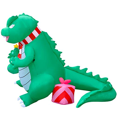 SEASONBLOW 6 FT LED Light Up Valentine's Day Inflatable Dinosaur with Gift Box Decoration Blow Up Decor for Yard Lawn Garden Holiday Indoor Outdoor Home Party from SEASONBLOW