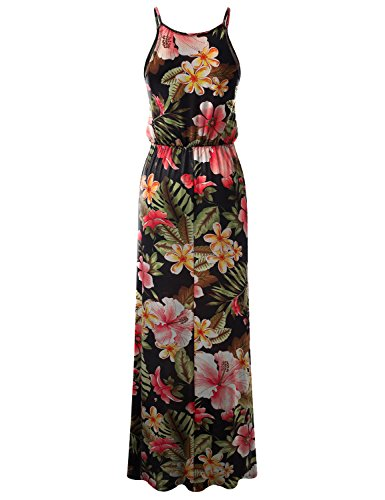 Doublju Extensible Maxi Robe Dos Nu En Forme De Fente Latérale Pour Les Femmes, Plus La Taille (made In Usa) Awdmd0224_tropicalblack
