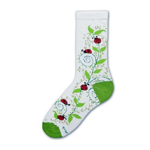 For Bear Feet Ladybug Swirls White Size Womans Shoe 6-11