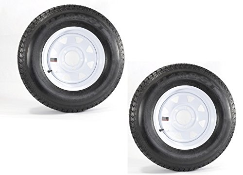 13'' ST175-80D13 LRC ET Bias Trailer Tire 5 Lug 6 Ply Spare Rubber Tires with White Spoke Steel Wheel (Pack of ()