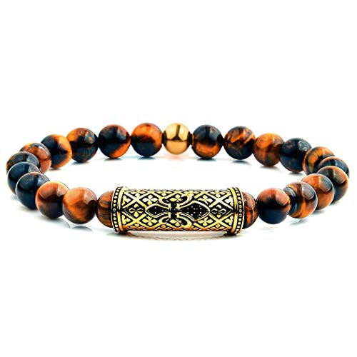West Coast Jewelry | Crucible Tiger's Eye Stone and Gold Plated Stainless Steel Beaded Stretch Bracelet - Plated Eye Tigers Gold