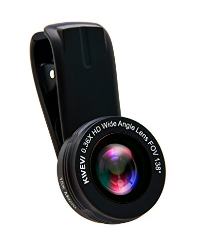 Kwevi Phone Camera Lens Kit: 0.36x HD Super Wide Angle and 15x Macro Lens for iPhone, Android, Samsung smartphones and tablets
