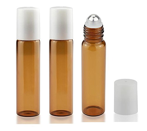3PCS 15ml/0.5oz Empty Amber Glass Roller Bottles with Stainless Steel Roller Ball And White Cap For Essential Oil Perfume Oils and Mosquito repellent liquid