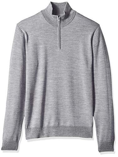 Goodthreads Men's Merino Wool Quarter Zip Sweater, Heather Grey, Large