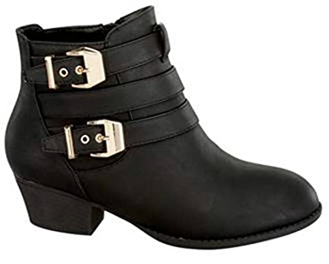 Top Moda Cl-14 Women's Buckle Straps Stacked Low Heel Ankle Booties,Black,8.5 - Boots