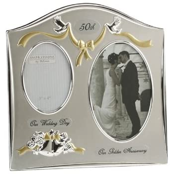 "Two Tone Silverplated Wedding Anniversary Gift Photo Frame - ""50th Golden Anniversary"""