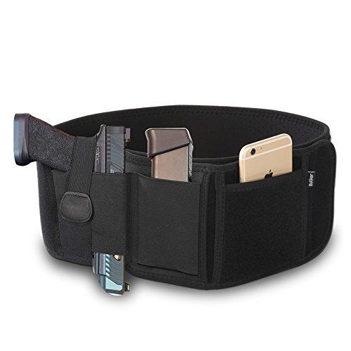 Gun Holster, Bullker Belly Band Holster For Concealed Carry - Neoprene Waist Band Handgun Carrying System - With Elastic holder For Pistols Revolvers - For Men and Women (Gun Running)