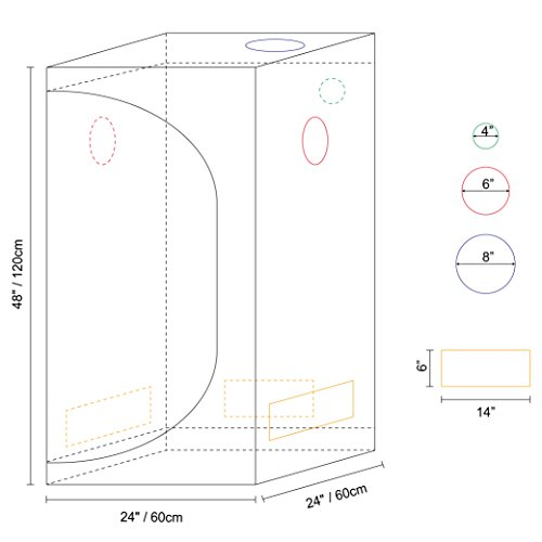 """41EzO613zFL - IDAODAN 2x2x4 Feet Small Indoor Mylar Hydroponic 600D Grow Tent Room with Floor Tray (24""""x 24""""x 48"""")"""