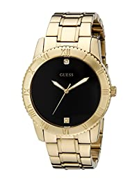 GUESS Men's U0416G2 Stainless Steel Gold-Tone  Watch with Black Diamond Dial