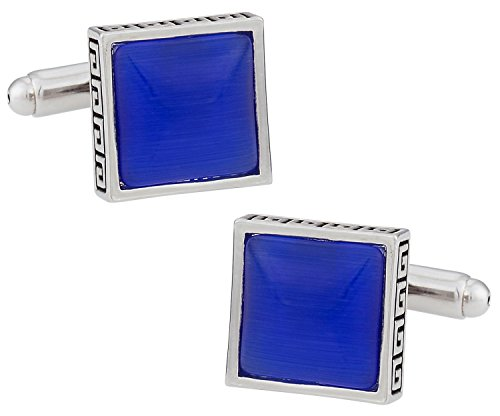 Framed Square Cufflinks - Cuff-Daddy Elegant Blue Silver Catseye-style Square Cufflinks Framed silver-tone with Presentation Box