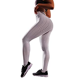 H HOWE GILL Women's High Waisted Yoga Pants Ruched Butt Leggings Booty Textured Tummy Control Scrunch Running Trousers Sports Tights