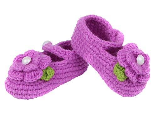 Bigood Strickschuh One Size Strick Schuh Baby Unisex süße Muster 11cm Kronblatt Deko Lila