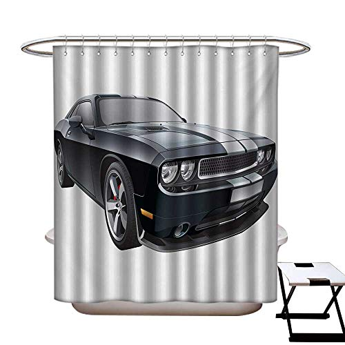 BlountDecor Cars Shower Curtains with Shower Hooks Black Modern Pony Car with White Racing Stripes Coupe Sports Dragster Print Fabric Bathroom Set with Hooks W54 x L78 Black Grey White ()