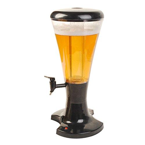 Dispenser Cooler Beer Draft (Tabletop Beer Tower Tap Cooler Beverage Dispenser 3L Cold Draft with Ice Holder and LED)