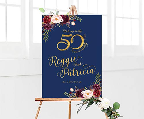 Dozili 50th Anniversary Poster 50th Anniversary Sign Anniversary Sign 50th Anniversary Decoration Wedding Anniversary Gold Wedding -