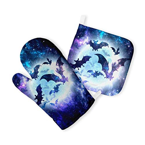 Halloween Bats Quilted Potholder Set Wall Hanging Heat-Resistant Mitts Oven Gloves Handmade Textile Kitchenware for Baking and Cooking ZZ8226 -