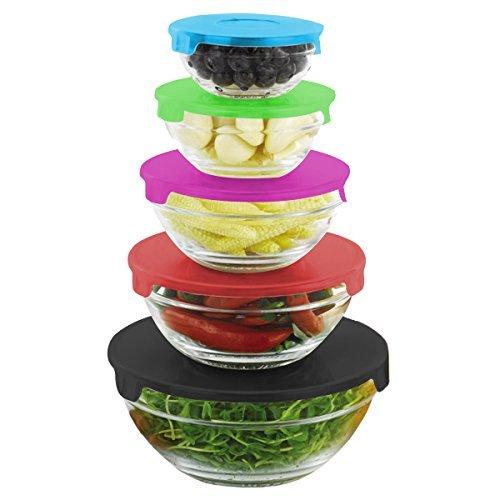 Home Basic SC44620 5 Piece Mixing Bowls Set with Color Lids