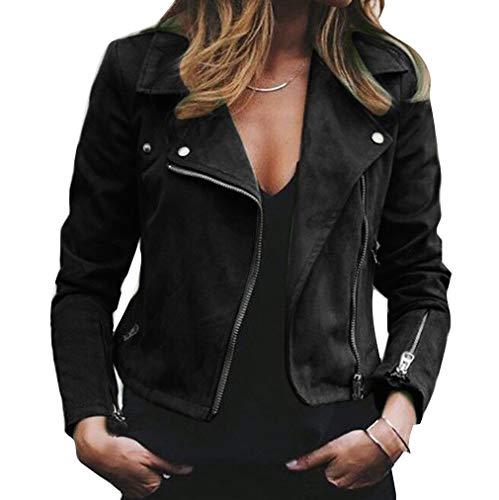 Corta Zip Motociclista Ecopelle Revers Giacca Giubbotto Fashion Donna Da Casual Lunghe Juleya S Nero 3xl Puro Slim Colore Maniche wZt8n