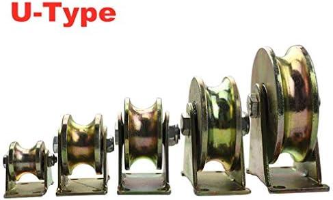 4 U溝鋼キャスターホイール、頑丈な硬質ホイール、シーブラウンドチューブ方向トラックホイール、ダブルベアリング、産業機械用、引き戸、ローリングゲート、ワイヤーロープレール(100mm / 4インチ)