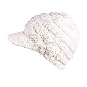 Regalo de Navidad, egmy mujeres Ladies Invierno Tejer sombrero boina turbante pelo sombrero de ala Cap Cap