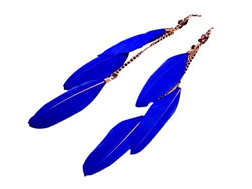 Hosaire Long Earrings Womens Fluorescence Faux Feather Tassel Dangle Earring for Beach Seaside Vacation Blue