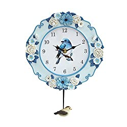 Collections Etc Pendulum Wall Clock with Blue Bird Spring Garden Theme
