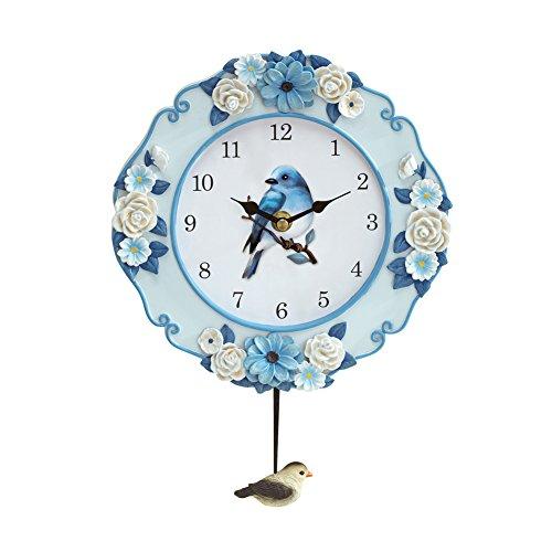 Collections Etc Pendulum Wall Clock with Blue Bird Spring Garden - Garden Floral Decorative Clock