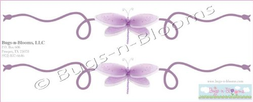 Dragonfly Wall Mural Vinyl Stickers Purple 2 Piece Scrolls D