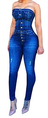 Womens Strapless Jumpsuit Bodycon Bodysuit