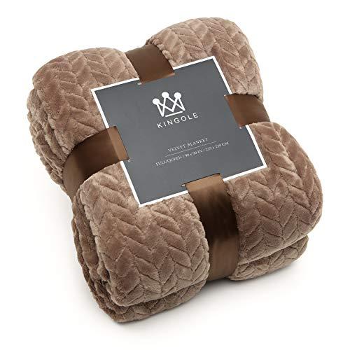 Kingole Flannel Fleece Luxury Throw Jacquard Weave Blanket