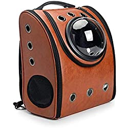XAJGW Pet Space Capsule Carrier Backpack, Pet Bubble Dome Traveler Knapsack Multiple Air Holes Waterproof Lightweight Bag for Cats Petite Dogs & Small Animals (Color : Brown)