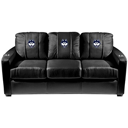 XZipit College Silver Sofa with University of Connecticut Huskies Logo Panel, Black