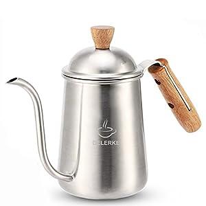 Coffee And Tea Kettle Stainless Steel Long Gooseneck Narrow Spout Coffee Pot kettle (Silver-22oz)