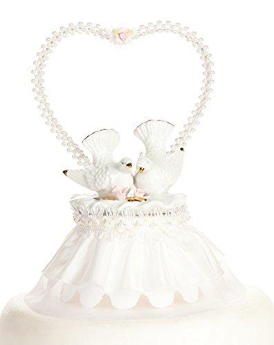 - Nesting Turtle Dove Cake Topper: Skirt Color: White
