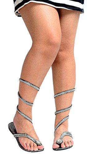 ODEMA - Sandalias romanas mujer Plateado - plata