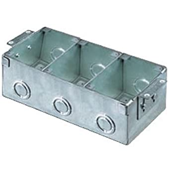 hubbell wiring systems b2483 stamped steel 3gang rectangular wooden floor box 425 cubic