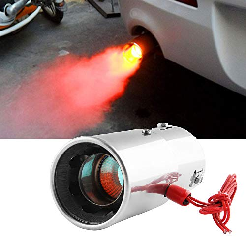 DSYCAR Universal Stainless Steel Car LED Exhaust Muffler Tip Pipe Red Light Flaming Tail Muffler - Fit Pipes Diameter 1.1-2.4 inch (Straight)