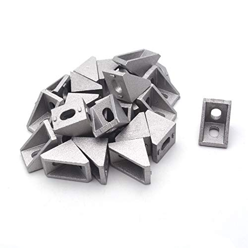 Antrader 20x20x17mm 2020 Metal Aluminium Corner Brackets Used for Reinforcing Inside of Right Angle Corner Joints European Standard Alloy Joint Connection Pack of ()