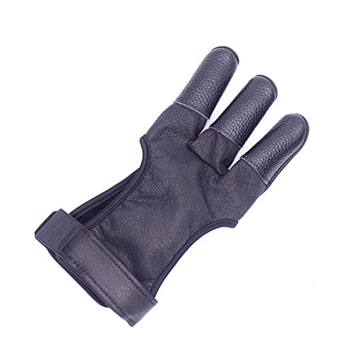 Mandarin Duck Recurve Bow Three Finger Glove Leather Black Hunting Protective Gear Guard