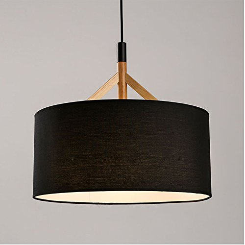 OAKLIGHTING Modern Pendant Light for Living Room Black/White Fabric Lampshade Wood Fixtures Loft Hanging Lamp Room Deco ()