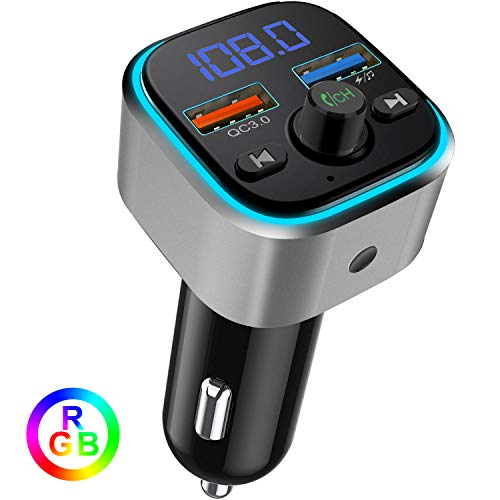 Bluetooth FM Transmitter for Car, Quick Charge 3.0 USB Wireless Radio Transmitter Adapter, Support USB Flash Drive, Microsd Card, Handsfree Car Kit