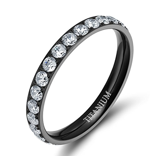 TIGRADE 3mm Women Titanium Engagement Ring Cubic Zirconia Eternity Wedding Band (Black, 7.5)