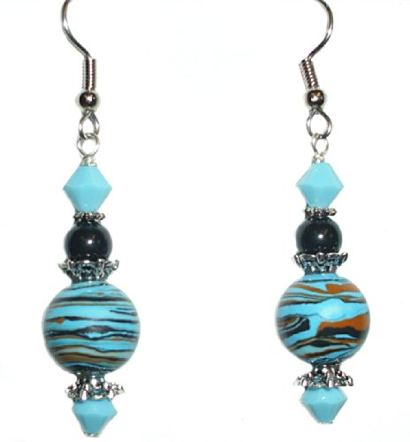 Multicolor Striped Turquoise (Blue, Black, Brown) & Swarovski Bead Earring Set (1. FISH HOOKS - Surgical Steel)