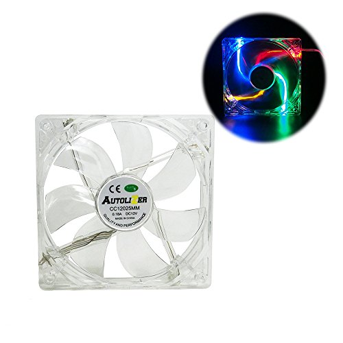 Autolizer Sleeve Bearing 120mm RGB Multi-Color LEDs Silent Cooling Fan for Computer PC Cases, CPU Coolers and Radiators, High Airflow, Quiet and Transparent - 2 Years Warranty ()