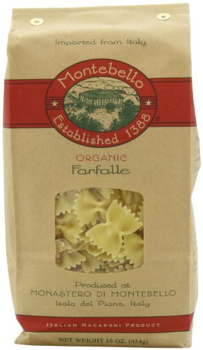 Montebello Organic Pasta, Farfalle, 16-Ounce Bag (Pack of 5)